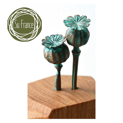 Bronze Poppy Seed Heads and Crafted Oak Block Sculpture