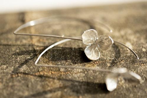 3 Petal Hydrangea Half-Loop Earrings