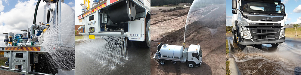 Front and rear spray systems, dribble bars, and water cannons in action