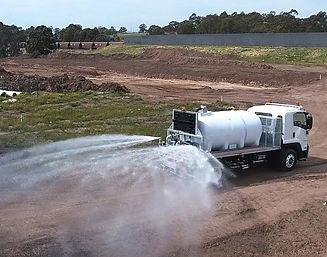 Polyethylene water truck with rear fan sprays