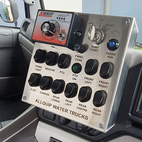 In-cab control panel for water truck spray features and lights