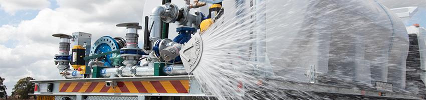 Water truck rear fan sprays demonstration