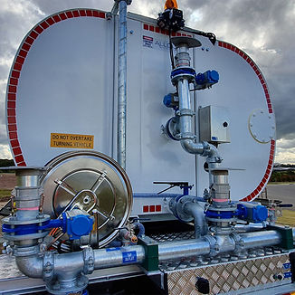 Water truck pipework, sprays and hose reel