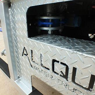 Custom galvanised steel sub-frame with Allquip logo