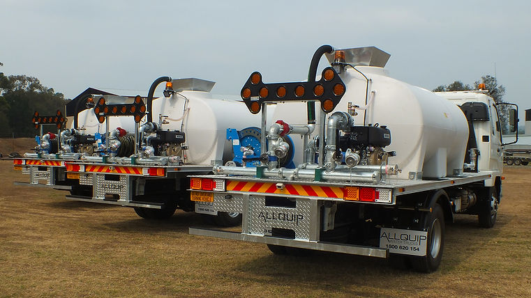 Water truck rear spray system close up