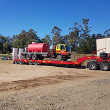 Linfox water truck mounted on semi-trailer for delivery