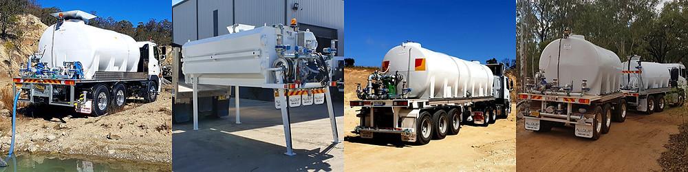 Water trucks, slide-in tanks, bulk tankers and dog trailer water carts