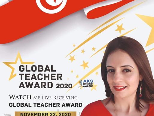 """معلمة تونسيّة تفوز بجائزة """"المعلّم العالمي""""، كأفضل معلّمي العالم من 110 دولة."""