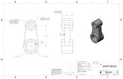 2D SolidWorks CAD drawing
