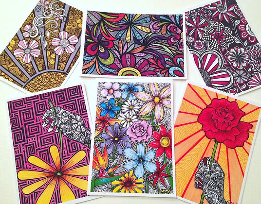 Set #6 - Flowers - 6 cards