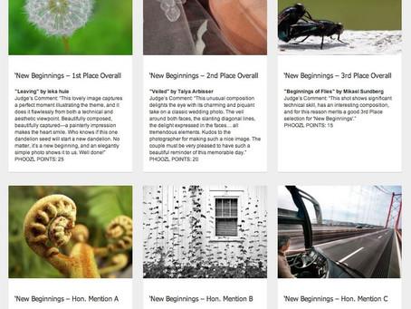 Mención de honor en el concurso semanal Nuevos comienzos en Phoozl.com