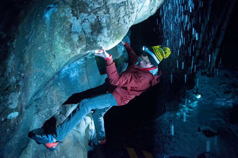 """Ethan Anderson demonstrates a winter climb of the """"Shot Down in Flames"""" boulder problem on Tuesday, Dec. 4, 2018 at Interstate State Park. Interstate is where Anderson first learned to outdoor climb three years ago."""