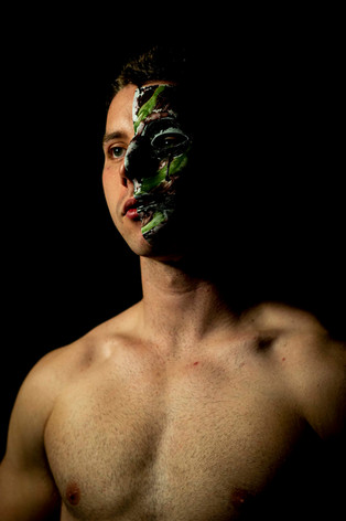 Diamond poses for a portrait wearing a mask representative of the questions and insecurities he has encountered on his journey to becoming a Special Forces candidate. Ideals wrestled with include fear, isolation, excitement, masculinity, sexuality, identity, legacy, duty and family.