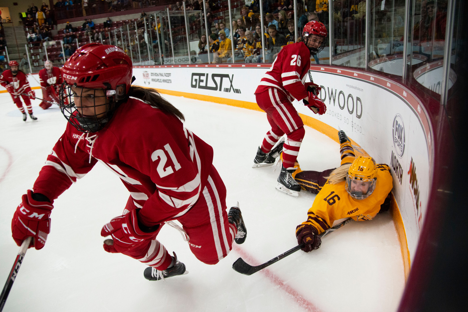 Forward Amy Potomak dives for the puck at Ridder Arena on Sunday, March 10, 2019 Wisconsin beat the Gophers 3-1 to win the 2019 WCHA Final Faceoff.