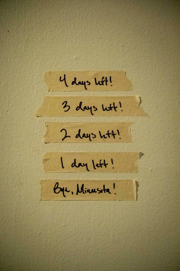 Strips of tape denoting the amount of days Diamond has left in Minnesota are on display on his bedroom wall.