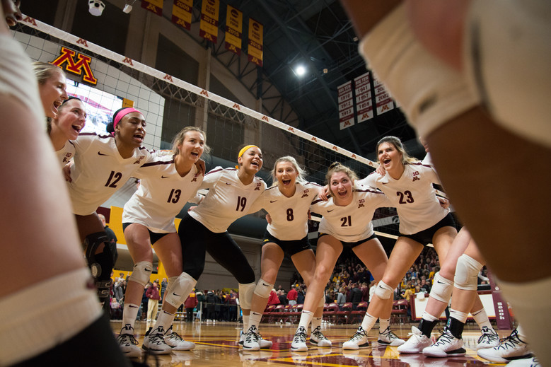 The Gophers celebrate a sweep over Indiana at the Maturi Pavilion on Friday, Nov. 9, 2018.