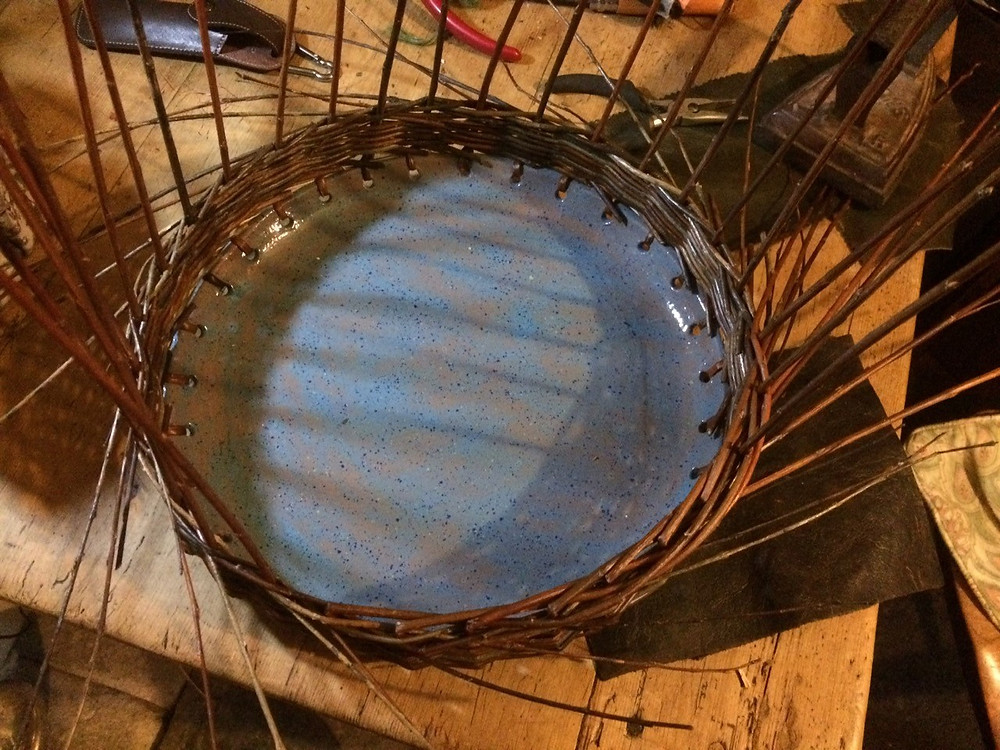 Travelling Weaver Willow Crafts and Courses Shropshire, Ceramic and Willow Bowl