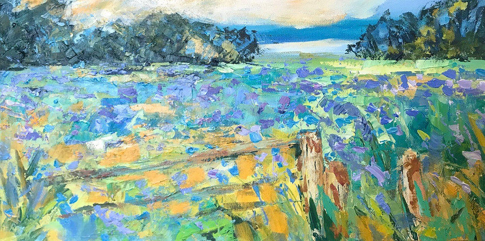 Blue Flax and Coastline