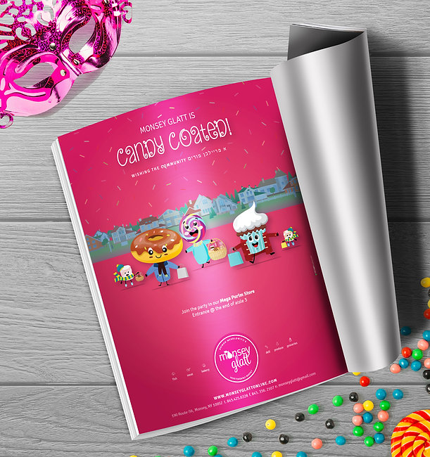Monsey Glatt purim ad - candy coated