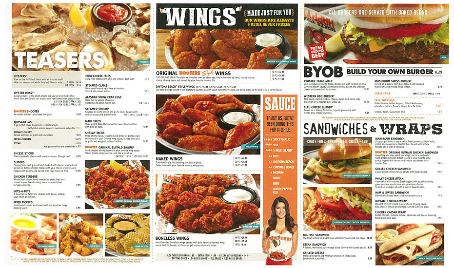 Abby Hooters Calendar May : Hooters northeast menu