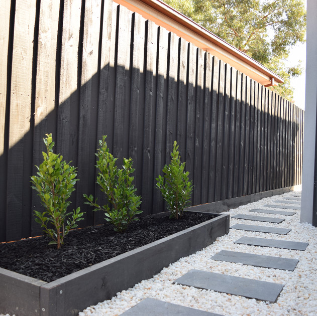 Timber edged raised garden with with black mulch. Charcoal Bluestone steppers with white pebbles