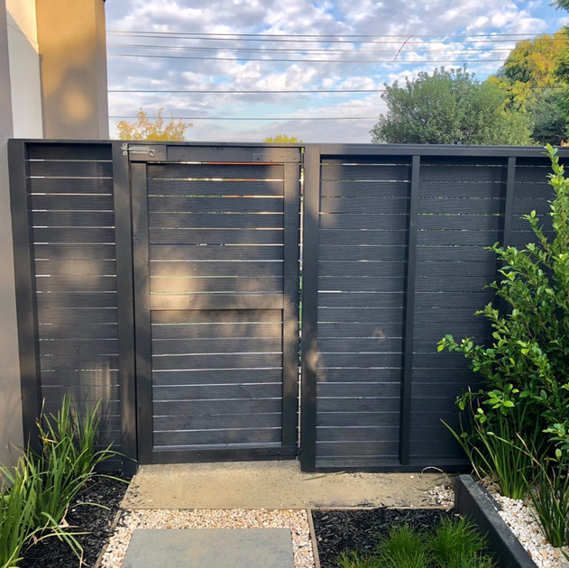 Painted treated pine screen and side gate