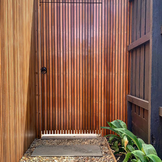 Western Red Cegar side gate; tailored to match the already built garage