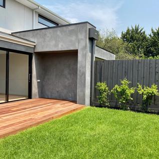 Turfed backyard with Merbau decking