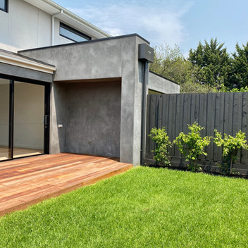 Turfed backyard with Merbau decking