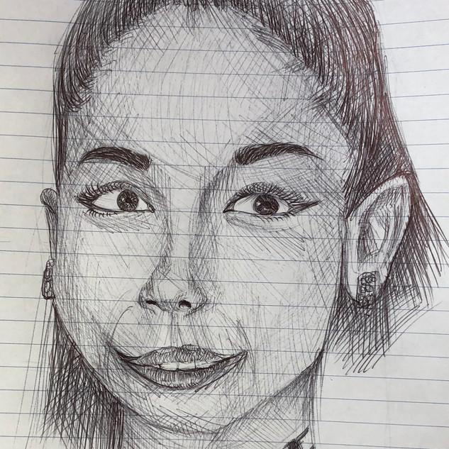Woman pen drawing