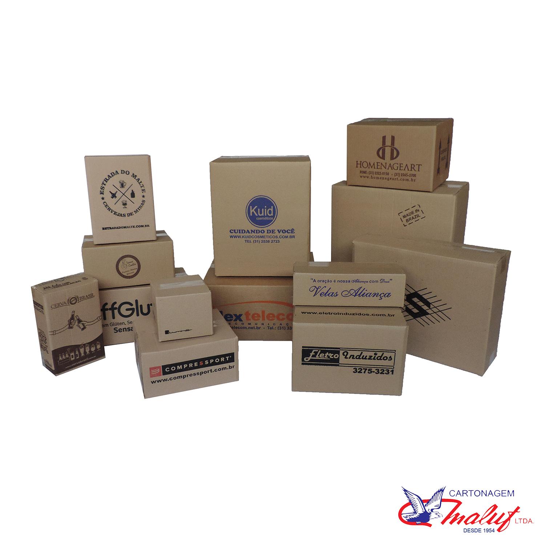 Caixas de papelão 4 abas impressas