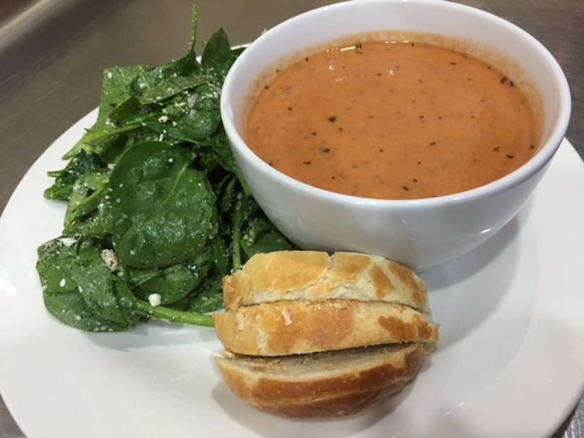 Basil Soup & Spinach Salad