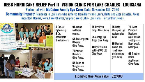 OEBB Hurricane Relief Vision Clinics for