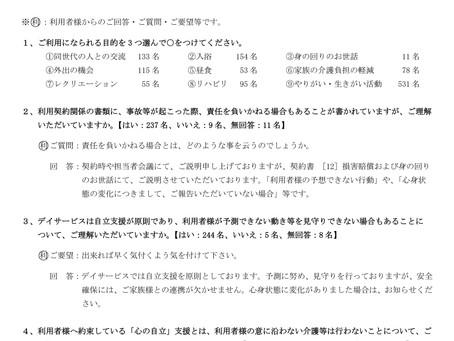 平成30年度利用者様アンケート結果!