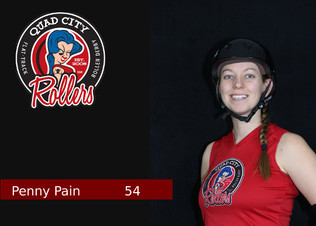 Derby Name – Penny Pain  Derby Number – 54  Reason behind name and number – I chose Penny Pain because I love the Beatles, and 54 because that was my sports # all throughout school.  Job outside of Derby – Buyer at KONE Elevator  Favorite Food – Mashed Potatoes  Favorite Drink – Coffee  When did you start playing derby? April 2017  What made you start playing derby? I was invited to a recruitment night, and thought I would check it out.  What has been your greatest accomplishment so far in derby?  Pushing my comfort zone, and changing my mindset. There is always some skating move that I think I'll never be able to do. Then I keep at it, and I eventually learn it. Or some aspect of the game I'm sure I'll never catch onto. Then I do. So, instead of knowing I'll never be able to now I give myself time to learn it!  If you could tell yourself one thing when you started playing, what would it be? Continue to wash your gear.