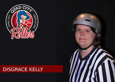 Derby Name: Disgrace Kelly  Derby Number: 314  Reason behind name and number: I just missed out on having the four digit number that I had in mind, so I picked by birthday. A teammate suggested my name and you can ask me in person why I choose it.  Job outside of derby: I'm a paper-pusher and landlord.  Favorite food: It's called glop (ground sausage, pasta, cheese, and tomato sauce cooked and mixed until orange).  Favorite drink: apple cider mixed with tequila  When did you start playing derby? February of 2016  What made you start playing derby? I needed exercise and a social life.  What has been your greatest accomplishment so far in derby? Realizing my abilities.  If you could tell yourself one thing when you started playing, what would it be? You need to practice outside of practice