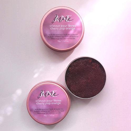 baume exfoliant : cristaux pour lèvres cherry pop orange