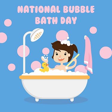 National Bubble Bath Day graphic, national holiday graphic, national bubble bath day, random holiday graphic