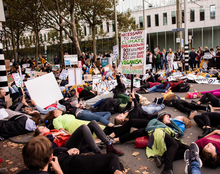 People lay in the streets at the first general climate strike in Den Haag, The Netherlands, on September 27, 2019. Building on the youth climate strikes that began almost a year ago, an estimated 35,000 people of all ages gathered to demand change in Dutch and international climate policy. The strike was a part of the largest international climate mobilization in history.