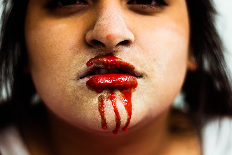 Halloween themed photo with bloody lips