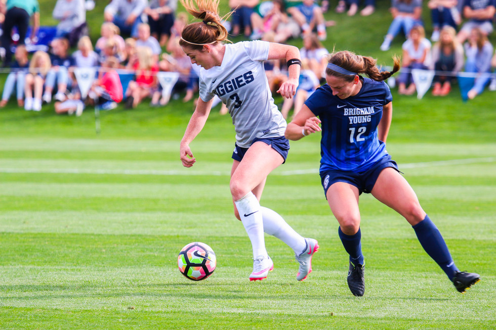Utah State University Jessica Brooksby and Brigham Young University Avery Walker play in Logan, Utah, on September 17, 2016. BYU won the game 3-1.