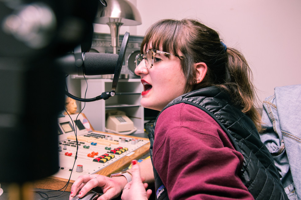 Allison Allred hosts her radio show Flower Power Music Hour on Aggie Radio in Logan, Utah, on Feb. 7, 2019. Allred is the program coordinator for Aggie Radio and does a weekly show Tuesday night from 11 p.m. to midnight on 92.3 FM featuring a variety of psychedelic rock music.