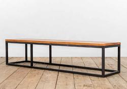 Tavolo basso PERUGIA in ferro e legno di recupero | 200x50xh50 cm