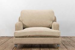 Poltrona STRESA in legno e lino grigio | 90x110xh90 cm