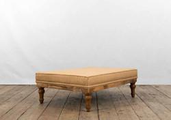 Tavolo basso AREZZO in legno di recupero e rivestimento in juta grezza e lino | 122x91xh43 cm
