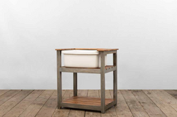 Console ELBA SINK in legno anticato dipinto a mano e assi di recupero | 60x90xh90 cm