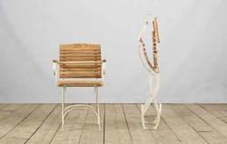 Poltroncina RAPALLO in ferro e legno naturale | 43x36xh93 cm