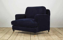 Poltrona STRESA in legno e lino blu | 90x110xh90 cm