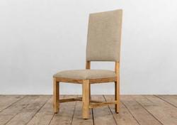 Sedia PISA in legno di recupero e rivestimento in juta grezza e lino | 56x102xh150 cm