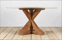 tavolo VERONA in legno di recupero e pietra di luserna | 120/150xh80 cm